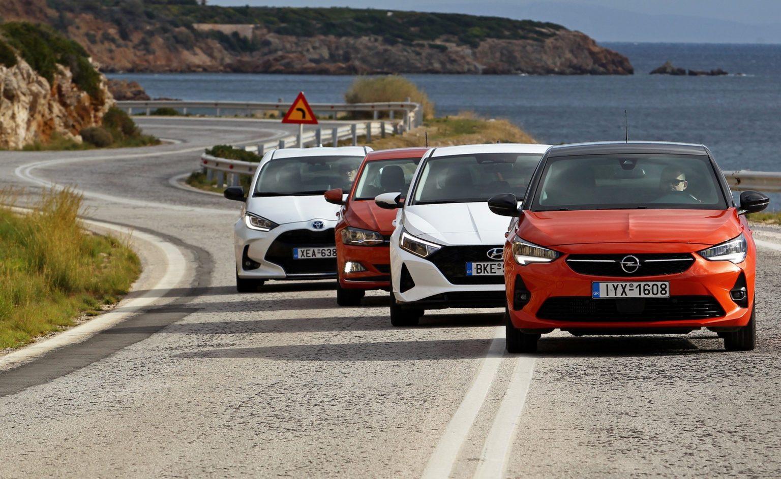 Hyundai i20 1.0T 100 PS vs Opel Corsa 1.2T 130 PS vs ...
