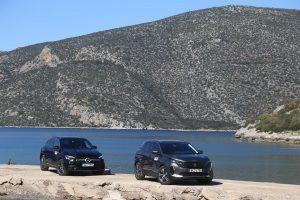 Mercedes GLA 250 e vs Peugeot 3008 Hybrid 225 static view